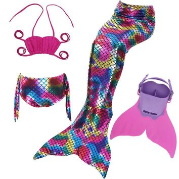 4pcs/Set 2017 Newest Girls Swimsuit Swimming Mermaid Tail with Monofin Fin Swimmable Children Mermaid Tails Costume Child Kids