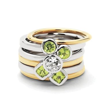 Sterling Silver & 14K Gold Plated Peridot Delight Stackable Ring Set