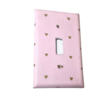 Pink Gold Hearts Light Switch Cover, Choose Size Girl Nursery Decor Girl Pink Nursery Decoration Switchplate Switch Plate Metallic Gold