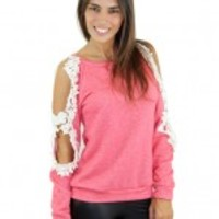 Coral Top with Open Crochet Sleeves