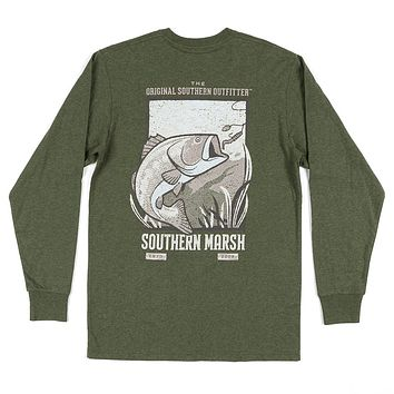 Long Sleeve Vistas Bass Tee in Washed Dark Green by Southern Marsh