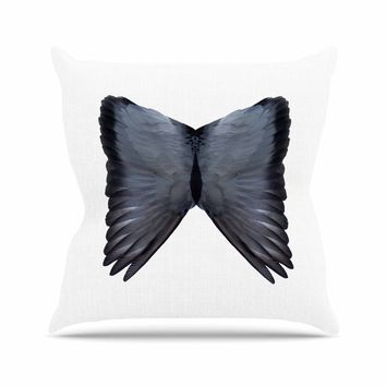 Wings - Black White Animals Digital Throw Pillow
