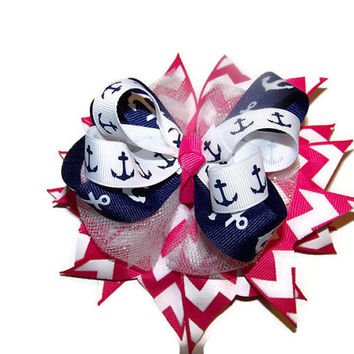 Nautical Hair Bow, Sailor Bow, Chevron Hair Bow, Pink Chevron, Navy Blue Anchors, Hair Bow for Girls, Large Hair Bow, Glitter Tulle Hair Bow