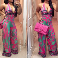 Pink Abstract Print Deep V-Neck Halter Flared Jumpsuit