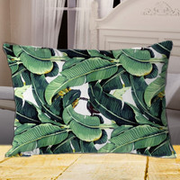 Cute Tropical Banana Leaf on Rectangle Pillow Cover