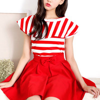 Red Striped Short Sleeve Top and Red Pleated Skirt with Bow