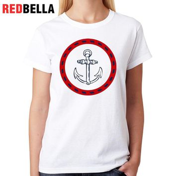 REDBELLA T-shirt Vrouwen Sails Anchor Hipster Cozy Vintage Novel Graphic Tumblr Aesthetic T Shirt Printed Graphic Tees Women Tee