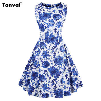 Tonval Summer Women Blue Floral Vintage Dress 2017 Gorgeous Print Rockabilly Elegant Retro Bow Swing Dresses