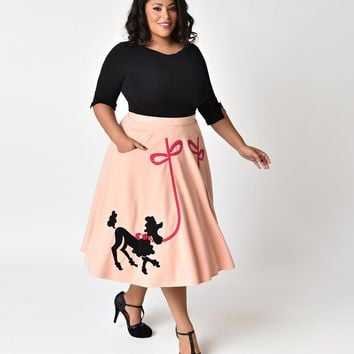 Unique Vintage Plus Size 1950s Peach Pink Soda Shop Poodle Swing Skirt