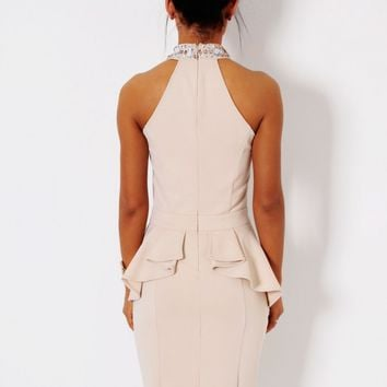 Gabriella Nude Embellished Halter Neck Midi Dress | Pink Boutique