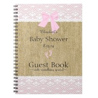 Burlap and Lace Image- Baby Shower Guest Book-