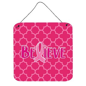 Breast Cancer Awareness Ribbon Believe Wall or Door Hanging Prints BB6980DS66