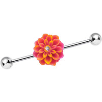 Clear Gem Coral Flowering Carnation Industrial Barbell | Body Candy Body Jewelry