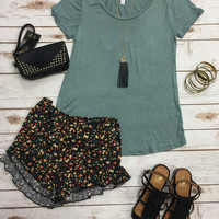 Basic Scoop Loose Tee: Sage