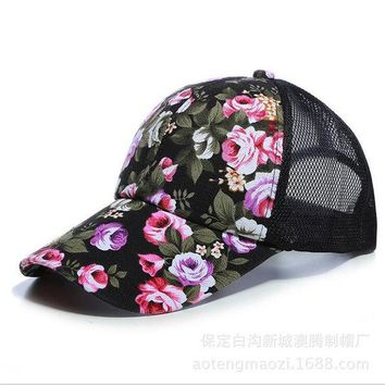 DCCKF4S The new female floral hat baseball cap mesh cap spring and summer sports and leisure sun visor sun hat snapback cap