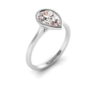 14K White Gold Pear Shape Morganite Minimalist Bezel Set Engagement Ring