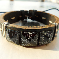Summer Gift Stylish Unique Big White Rivet with Abstract Ink Painting Pattern Brown Leather Cuff Bracelet C-93