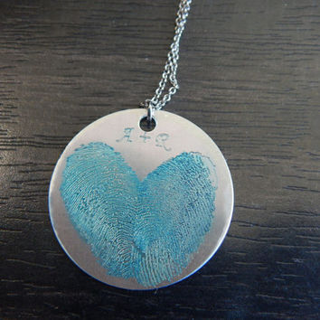 Turquoise Personalized Custom Engraved Fingerprint Heart Pendant Necklace, Great Birthday Gift, Holiday Gift, Memorial Jewelry