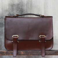 Handmade Ipad Mini Leather Messenger Bag Minimalist Briefcase / Shoulder Bag / Professional Style / Hip Bag / Crossbody / Leather Bag
