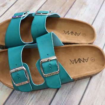Turquoise Buckle Sandals