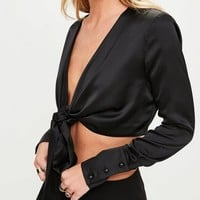 Missguided - Black Wrap Side Drape Blouse