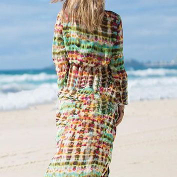 Multicolor Floral Print Tie Dye Long Sleeve V-neck Fashion Bohemian Beach Chiffon Maxi Dress