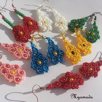 Colorful Flower Earrings / boho chic
