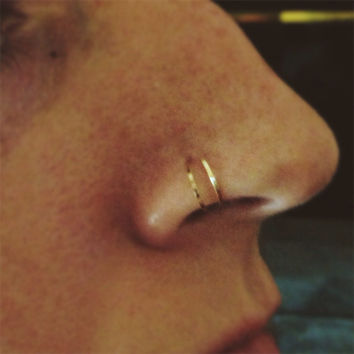 Double Loop Nose Ring Coil in gold rose gold or by bijoufish