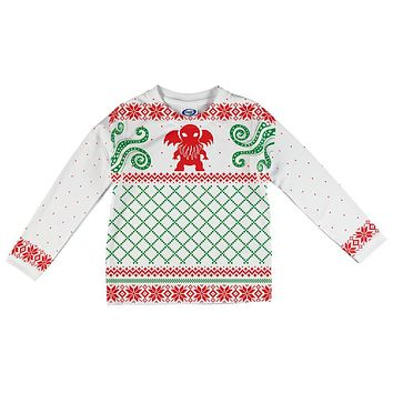 Cthulhu Lovecraft Dimensions Ugly Christmas Sweater All Over Toddler Long Sleeve T Shirt