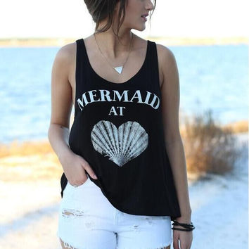 "Black ""Mermaid"" Letter and Heart Shape Print Sleeveless T-Shirt"