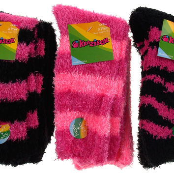 6 Pairs Fuzzy Crew Socks Krazisox Pink Black Cozy Womens Size 4-10 Stripes Solid