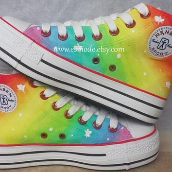 Hot Spot Rainbow Canvas Shoes,4th of july,Hand Painted Shoes,Galaxy Vans Shoes