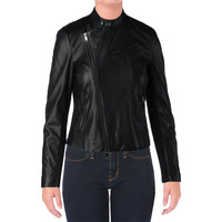 DKNY Womens Lamb Skin Leather Asymmetric Motorcycle Jacket