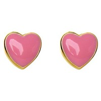 Lily Nily 18k Gold Overlay Enamel Heart Stud Earrings - Pink