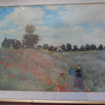 Framed Monet Art Print Poppies 1873, Summer Landscape, Cottage Shabby Chic Decor