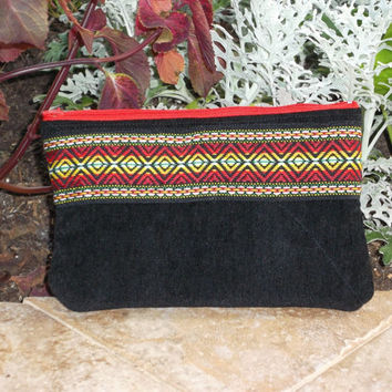 Small Black Zipper Pouch With Aztec Trim Back to School Pencil Case