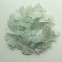Sea Glass/ Beach Glass/ Mosaic Pieces/ Light Blue & White Sea Glass/ Craft Supplies/ Sea Glass Jewelry art/ Mosaic Crafts/ Bulk Beach Glass