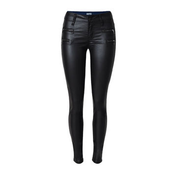 The new Fitted Stretch SliM  PU Leather Pants  Female sexy low waist  pencil pants  High Quality plus size Jeans