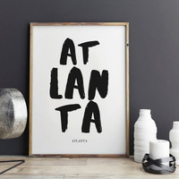 Atlanta Print, Atlanta Poster for office decor, gifts, work desk, city prints, Atlanta city Prints, art, Wall Art, Art