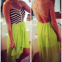 Striped Lime High Low Dress from Monica's Closet Essentials