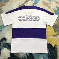 Adidas Popular Unisex Comfortable White Purple Stripe Short Sleeve Pure Cottom T-Shirt Top I-AA-XDD