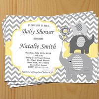Boy Baby Shower Invitation Baby Shower Invites Baby Boy Shower Invitation Yellow Elephant Baby Shower invitations- FREE Thank You card (87)