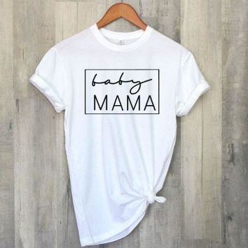 OKOUFEN Baby Mama Pregnancy tShirt Announcement women mom gift shirt tumblr fashion short sleeve tee O-neck soft tops hot sale