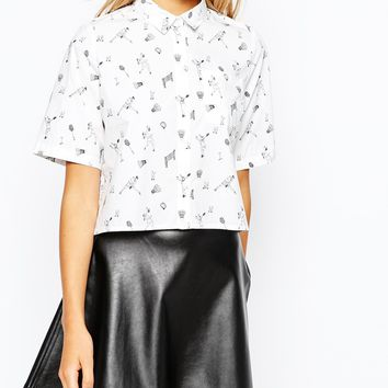 Monki Cropped Badminton Print Shirt