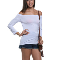 White Off Shoulder Tight Long Sleeve T-shirt