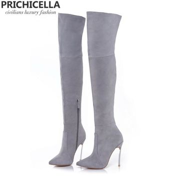 8cm 10cm grey genuine leather over the knee boots thigh high booties