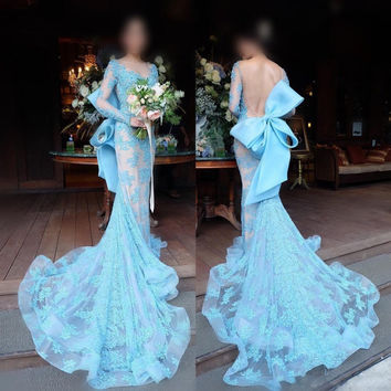Sexy Backless Robe De Soiree 2017 Long Formal Baby Blue Mermaid Prom Dresses Sexy Party Evening Dresses Vestido De Festa