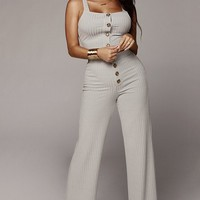 Always On Sleeveless Square Neck Button Crop Top Ribbed High Waist Wide Leg Loose Two Piece Jumpsuit - 2 Colors Available