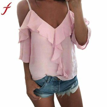 DCCKON3 2017 Summer Women's Ruffles Blusa Solid Backless V-Neck Shirts Top Pink White cold shoulder straps tops beach boho camis top