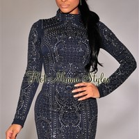 Navy-Blue Chrome Stones Textured Turtleneck Dress